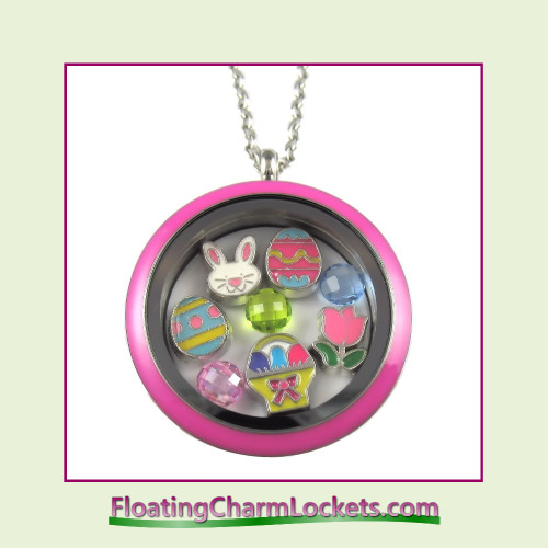 FCL Designs® Easter (Pink) Theme Floating Charm Locket