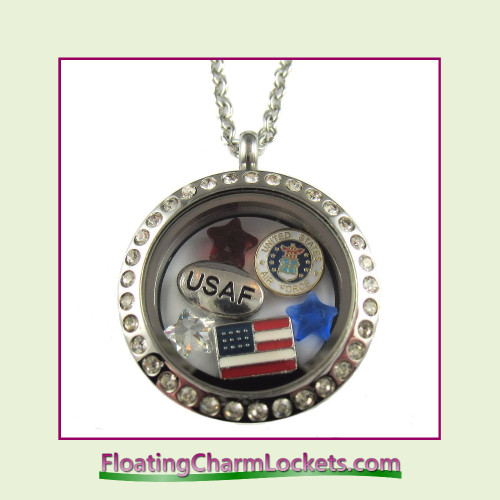 FCL Designs® Air Force Theme Floating Charm Locket