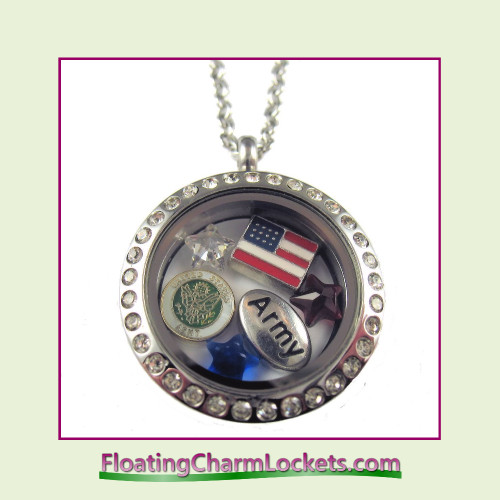 FCL Designs® Army Theme Floating Charm Locket