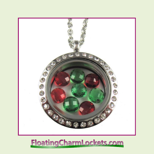 FCL Designs® Christmas Crystals Theme Floating Charm Locket