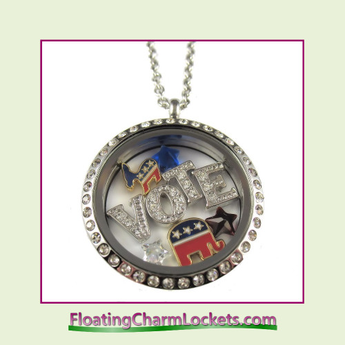 FCL Designs® Election Day Theme Floating Charm Locket
