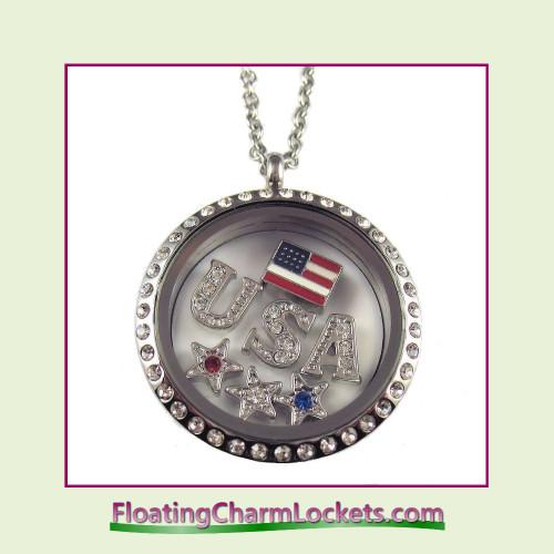 FCL Designs® USA Charm Theme Floating Charm Locket
