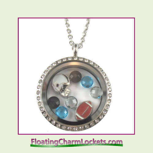 FCL Designs® Carolina Football Theme Floating Charm Locket