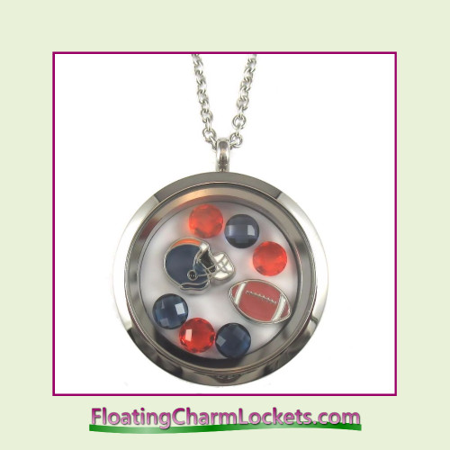 FCL Designs® Chicago Football Theme Floating Charm Locket