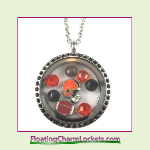 FCL Designs® Cincinnati Football Theme Floating Charm Locket