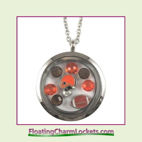 FCL Designs® Cleveland Football Theme Floating Charm Locket