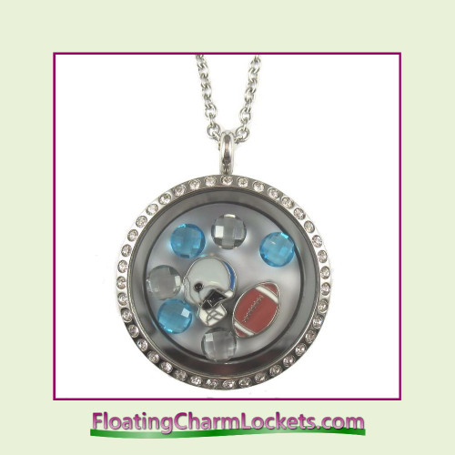 FCL Designs® Detroit Football Theme Floating Charm Locket