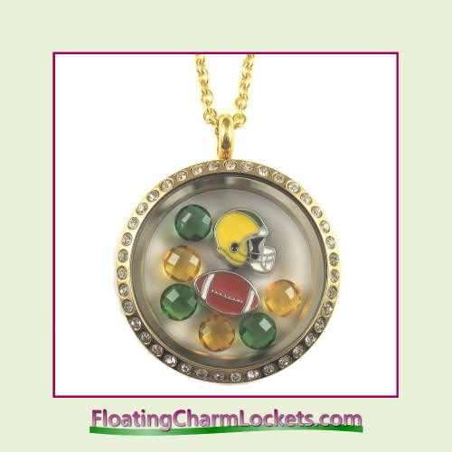 FCL Designs® Green Bay Football Theme Floating Charm Locket