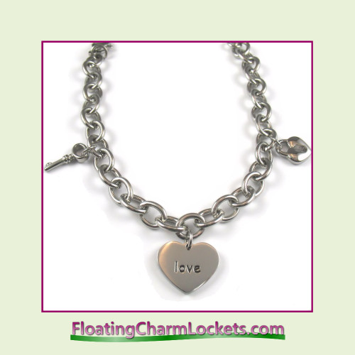 Stainless Steel Bracelet - Love Theme - 8mm Oval Link