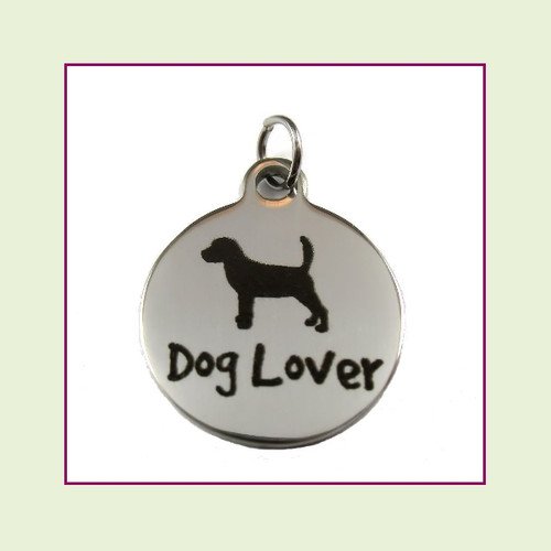 O-Ring Charm:  Dog Lover 19mm Round Silver Stainless Steel