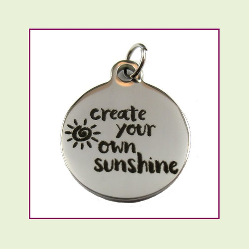 O-Ring Charm:  Create Your Own Sunshine 19mm Round Silver Stainless Steel