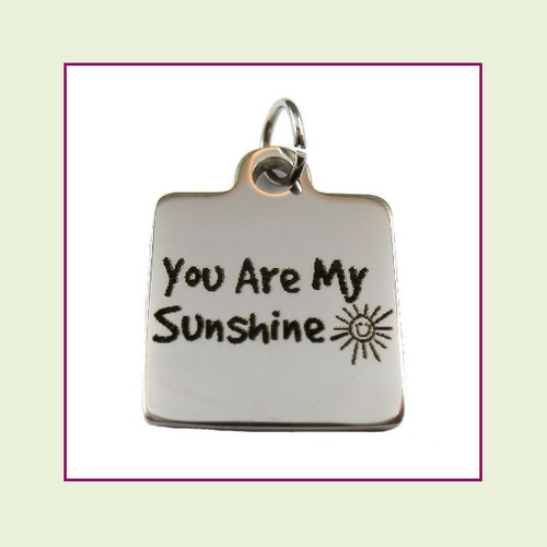 O-Ring Charm:  You Are My Sunshine 16mm Square Silver Stainless Steel