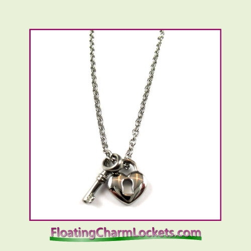 Stainless Steel Necklace - Heart Lock and Key (Silver)