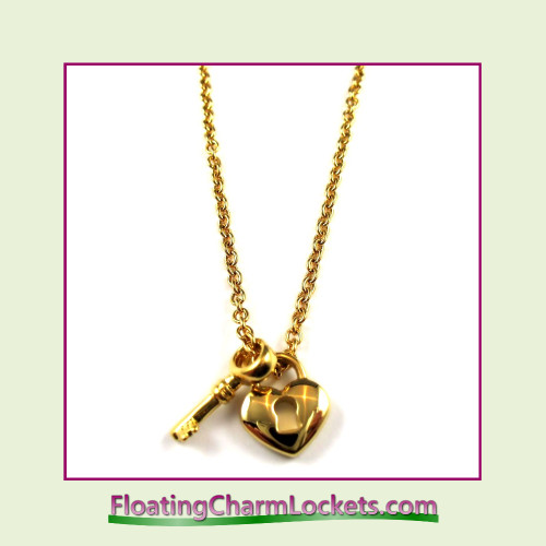 Stainless Steel Necklace - Heart Lock and Key (Gold)