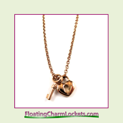 Stainless Steel Necklace - Heart Lock and Key (Rose)