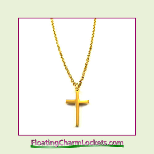 Stainless Steel Necklace - Cross (Gold)
