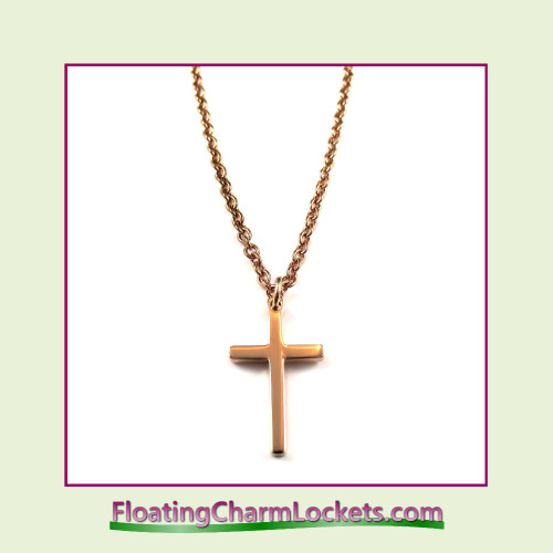 Stainless Steel Necklace - Cross (Rose)