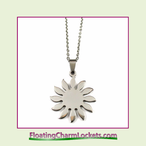 Stainless Steel Necklace - Sunflower (Silver)
