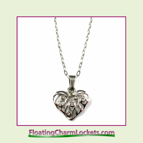 Stainless Steel Necklace - CZ Fancy Heart (Silver)