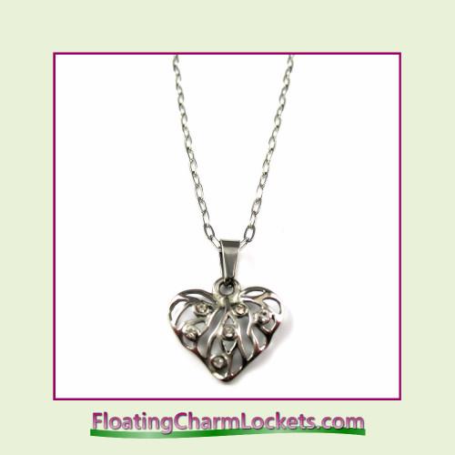 Stainless Steel Necklace - CZ Fancy Heart (Silver)