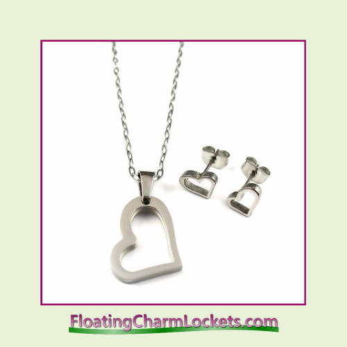 Stainless Steel Jewelry Set - Open Heart Pendant and Earrings