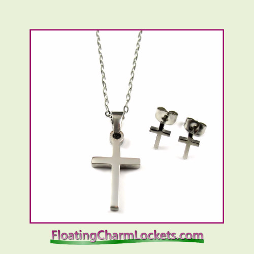 Stainless Steel Jewelry Set - Latin Cross Pendant and Earrings
