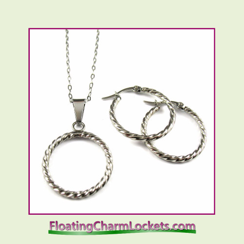 Stainless Steel Jewelry Set - Twisted Circle Pendant and Earrings