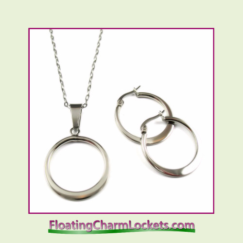 Stainless Steel Jewelry Set - Circle Pendant and Earrings