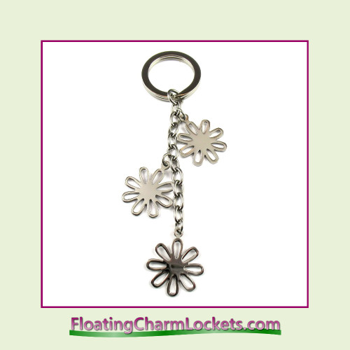 Stainless Steel Keychain - Open Flower