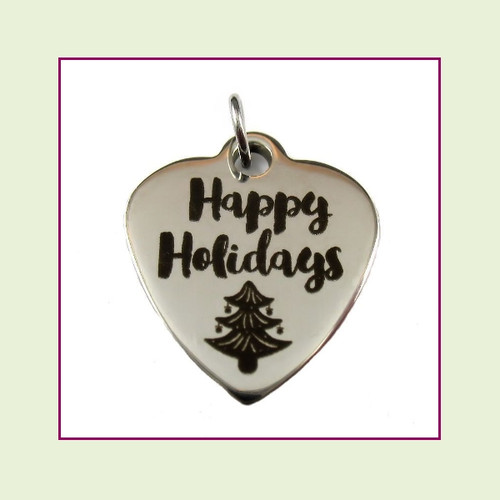 O-Ring Charm:  Happy Holidays 19x22mm Heart Silver Stainless Steel