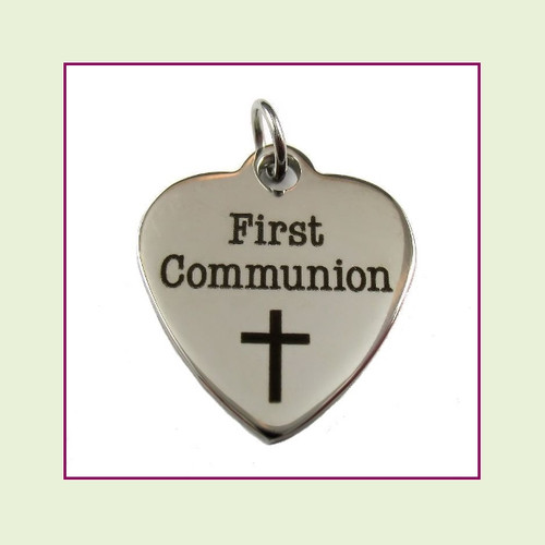 O-Ring Charm:  First Communion 19x22mm Heart Silver Stainless Steel