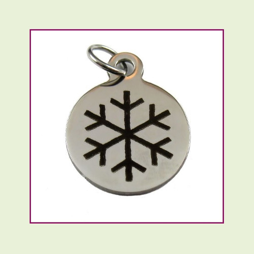 O-Ring Charm:  Snowflake 15mm Round Silver Stainless Steel