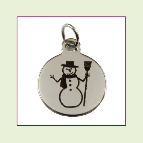 O-Ring Charm:  Snowman 15mm Round Silver Stainless Steel