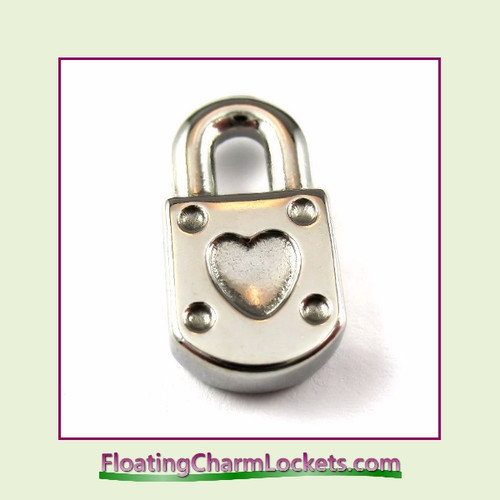 Charm:  Heart Lock 9x18mm Silver Stainless Steel