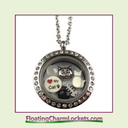 FCL Designs® Love My Cat Theme Floating Charm Locket