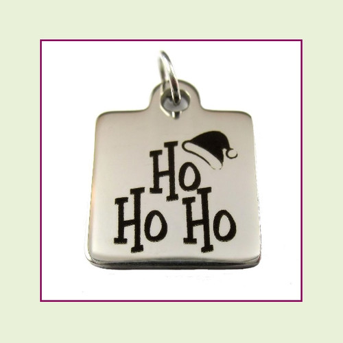 O-Ring Charm:  Ho Ho Ho 16mm Square Silver Stainless Steel