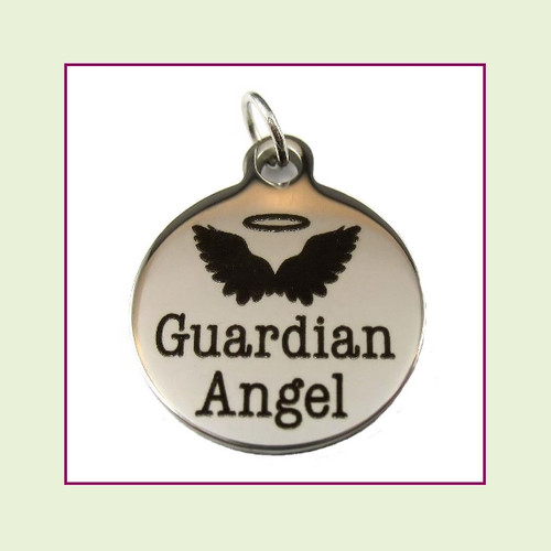 O-Ring Charm:  Guardian Angel 19mm Round Silver Stainless Steel