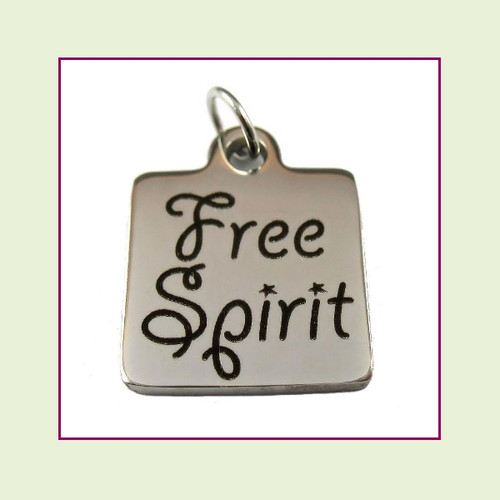 O-Ring Charm:  Free Spirit 16mm Square Silver Stainless Steel