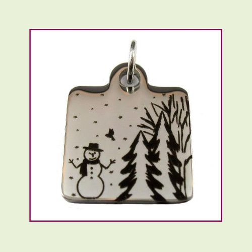 O-Ring Charm:  Snowman Winter Wonderland 16mm Square Silver Stainless Steel