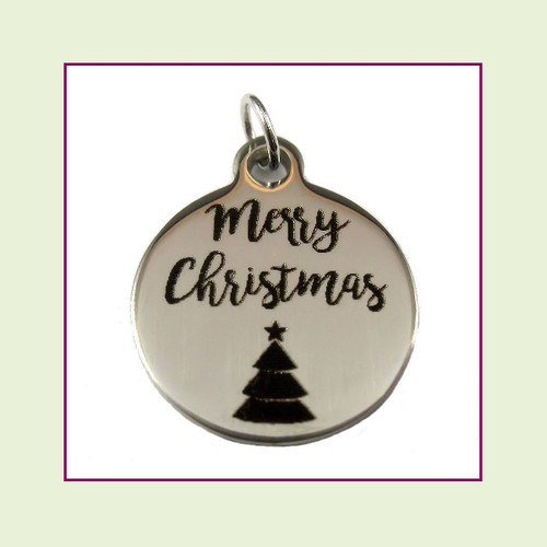 O-Ring Charm:  Merry Christmas 19mm Round Silver Stainless Steel