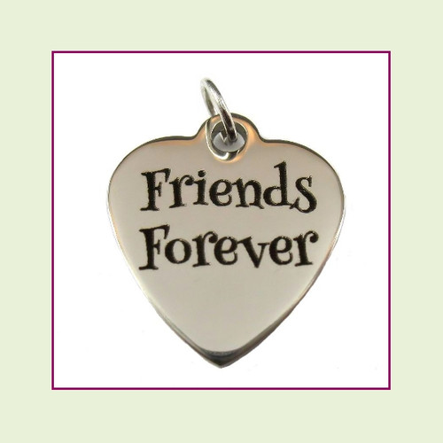 O-Ring Charm:  Friends Forever 19x22mm Heart Silver Stainless Steel