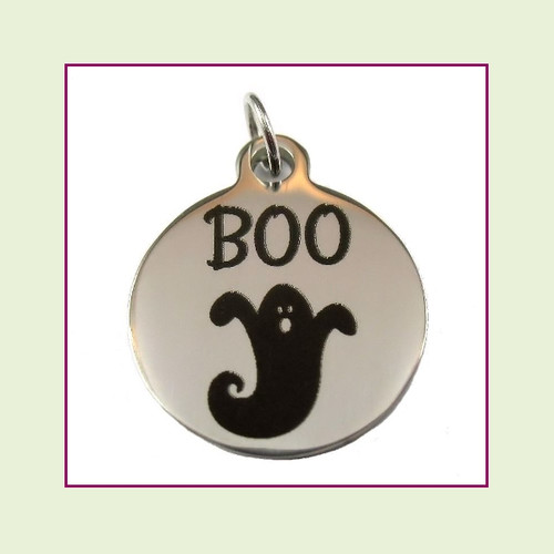 O-Ring Charm:  Boo 19mm Round Silver Stainless Steel