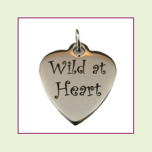 O-Ring Charm:  Wild At Heart 19x22mm Heart Silver Stainless Steel