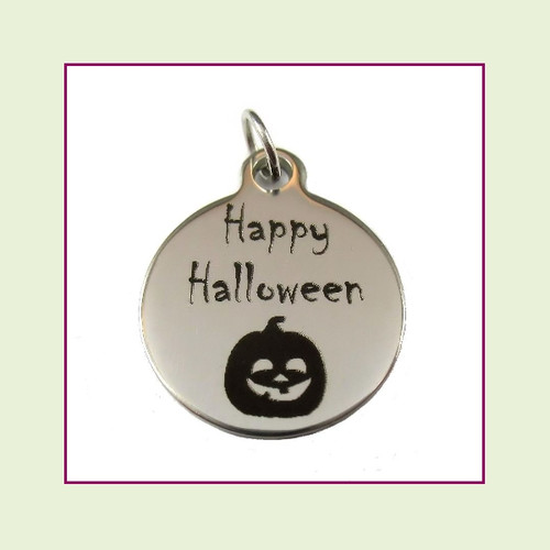 O-Ring Charm:  Happy Halloween 19mm Round Silver Stainless Steel