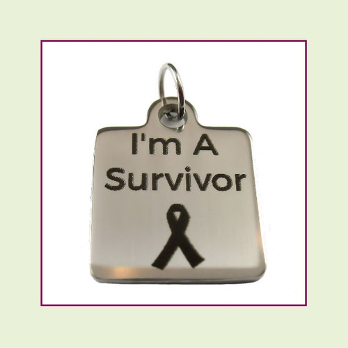 O-Ring Charm:  I'm A Survivor 16mm Square Silver Stainless Steel