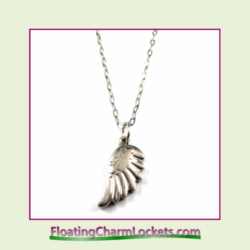 Stainless Steel Necklace - Angel Wing (Silver)