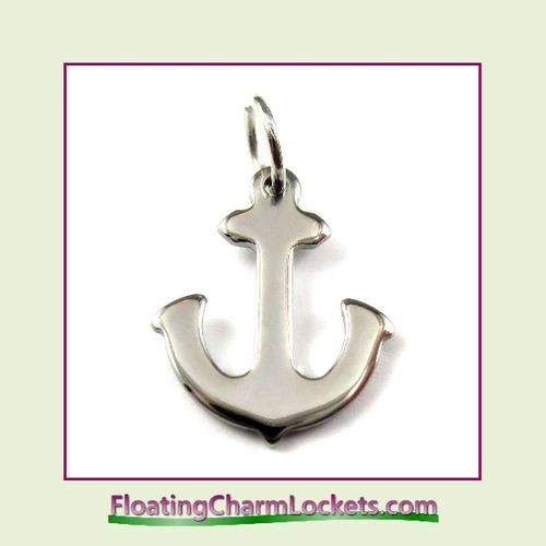 O-Ring Charm:  Anchor 12x15mm Silver Stainless Steel