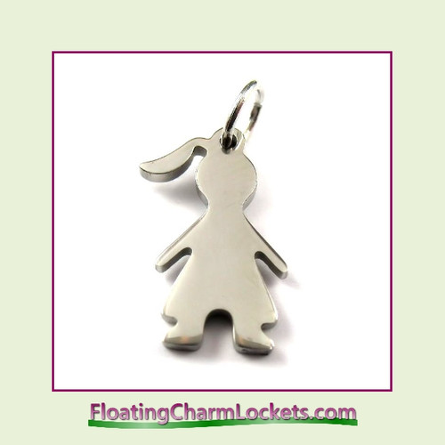 Mini O-Ring Charm:  Girl 10x17mm Silver Stainless Steel