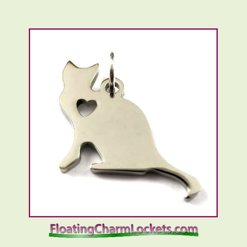 O-Ring Charm:  Cat 20x22mm Silver Stainless Steel