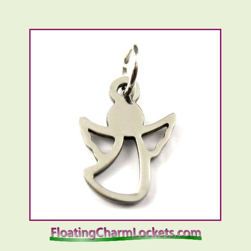 O-Ring Charm:  Small Angel 11x14mm Silver Stainless Steel